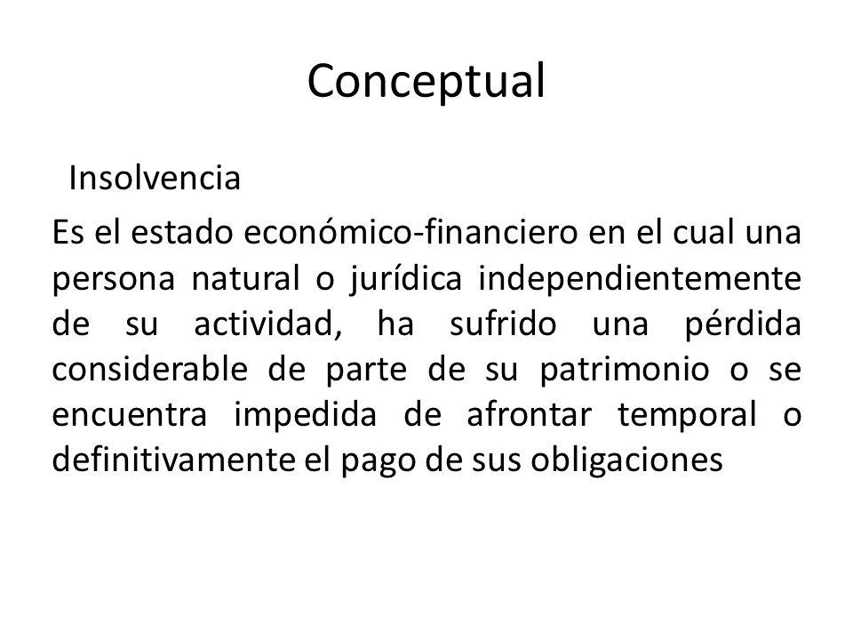 Conceptual Insolvencia Es el estado económico-financiero en el cual una persona natural o jurídica independientemente de su actividad, ha sufrido una