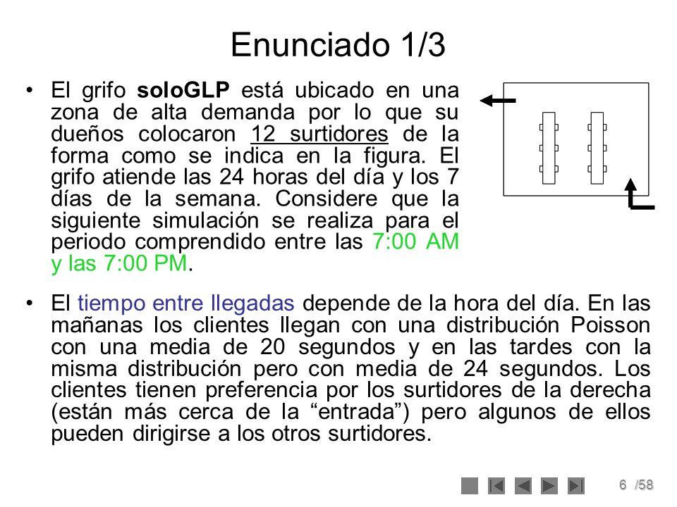 6/58 Enunciado 1/3 El grifo soloGLP está ubicado en una zona de alta demanda por lo que su dueños colocaron 12 surtidores de la forma como se indica e