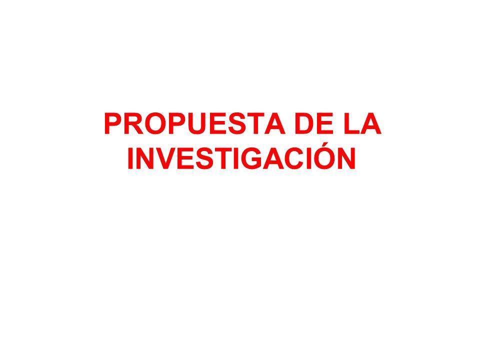 PROPUESTA DE LA INVESTIGACIÓN