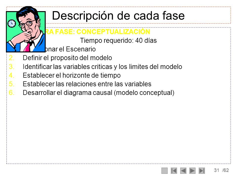 30/62 Fases de construcción de un modelo Conceptualización Formulación Evaluación Mundo real Modelo mental Modelo Formal