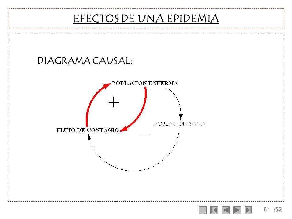 50/62 EFECTOS DE UNA EPIDEMIA HIPOTESIS: La población es constante, es decir no se producen fenómenos migratorios. La enfermedad es lo suficientemente