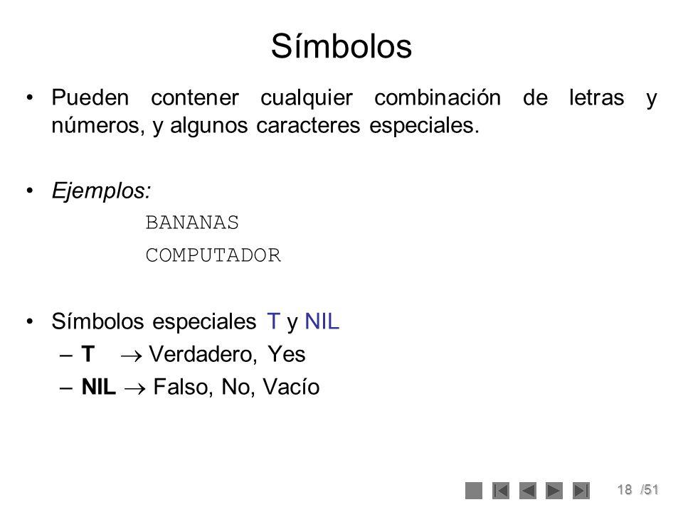 18/51 Símbolos Pueden contener cualquier combinación de letras y números, y algunos caracteres especiales. Ejemplos: BANANAS COMPUTADOR Símbolos espec