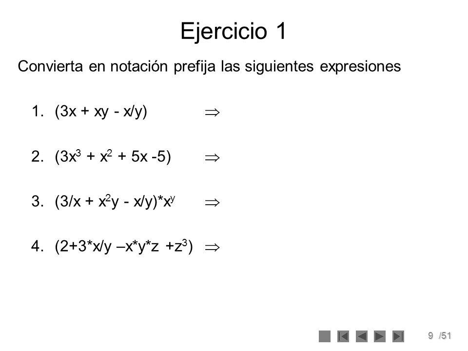 10/51 Ejercicio 2 Convierta a notación prefija las siguientes expresiones: 1.(2+3-4)/(4*4+5) 2.(2*3 4 - 3 (3*5 - 1) +4/3)/(2*4 (3-4+5*6) +3) 3.(3 – 4 – 6 - 4*5)/((2 + 3/4)*(3*5/2 + 1)/(2 + 4 + 3)) 4.(2*3 – 4 + (5*6)/(4 - 6) - 3*5 5 /(3 + 4 - 5*7))/(4+2)