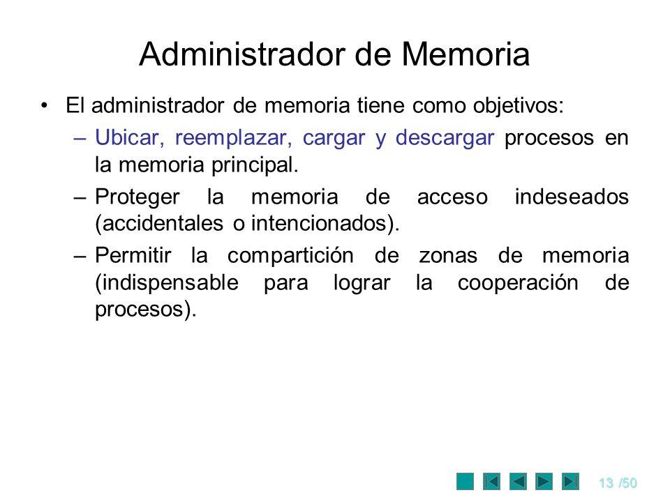 13/50 Administrador de Memoria El administrador de memoria tiene como objetivos: –Ubicar, reemplazar, cargar y descargar procesos en la memoria princi