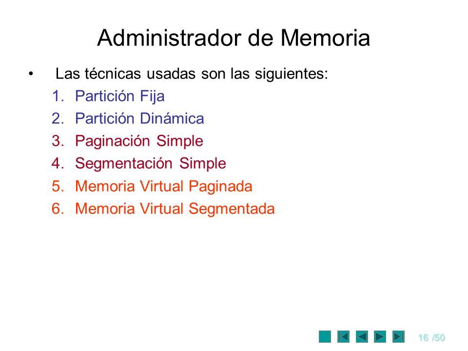 16/50 Administrador de Memoria Las técnicas usadas son las siguientes: 1.Partición Fija 2.Partición Dinámica 3.Paginación Simple 4.Segmentación Simple