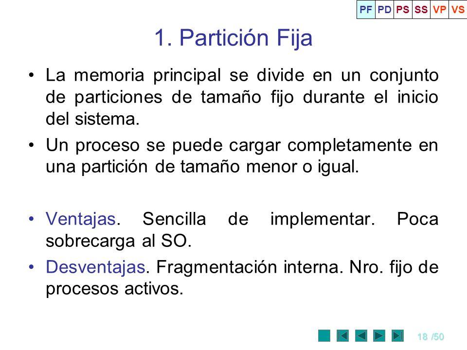 18/50 1. Partición Fija La memoria principal se divide en un conjunto de particiones de tamaño fijo durante el inicio del sistema. Un proceso se puede