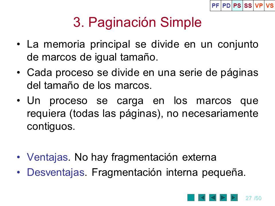 27/50 3. Paginación Simple La memoria principal se divide en un conjunto de marcos de igual tamaño. Cada proceso se divide en una serie de páginas del