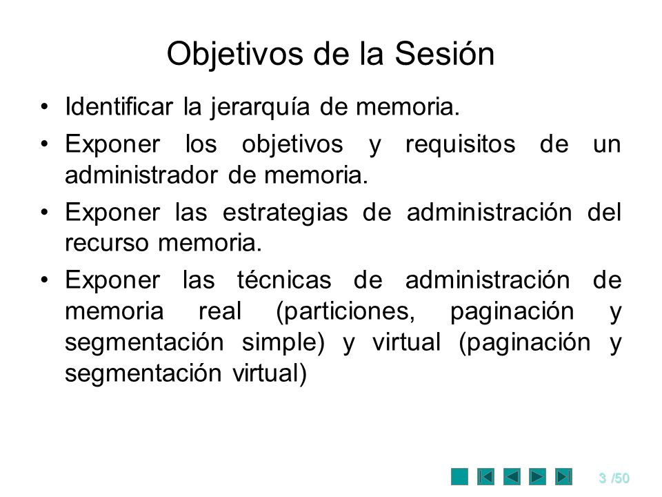 3/50 Objetivos de la Sesión Identificar la jerarquía de memoria. Exponer los objetivos y requisitos de un administrador de memoria. Exponer las estrat