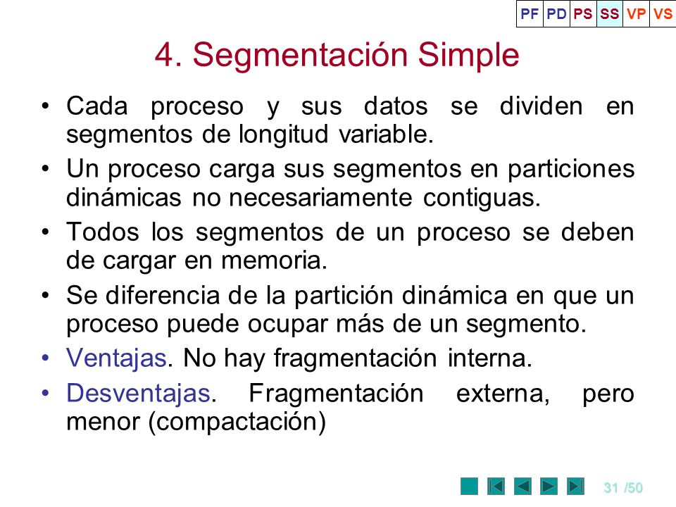 31/50 4. Segmentación Simple Cada proceso y sus datos se dividen en segmentos de longitud variable. Un proceso carga sus segmentos en particiones diná