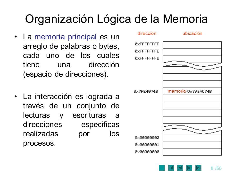 8/50 Organización Lógica de la Memoria La memoria principal es un arreglo de palabras o bytes, cada uno de los cuales tiene una dirección (espacio de