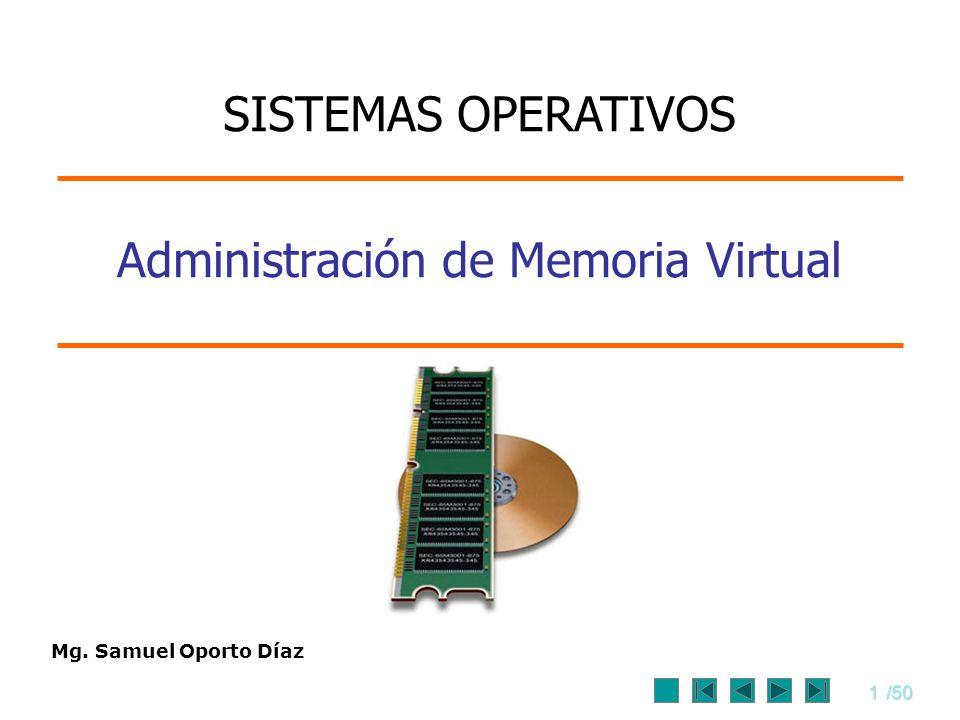 1/50 Mg. Samuel Oporto Díaz Administración de Memoria Virtual SISTEMAS OPERATIVOS