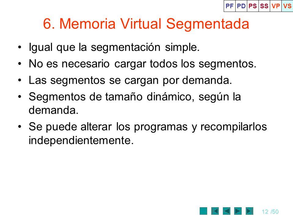 12/50 6. Memoria Virtual Segmentada Igual que la segmentación simple. No es necesario cargar todos los segmentos. Las segmentos se cargan por demanda.