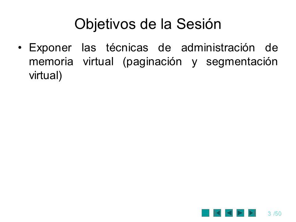 3/50 Objetivos de la Sesión Exponer las técnicas de administración de memoria virtual (paginación y segmentación virtual)