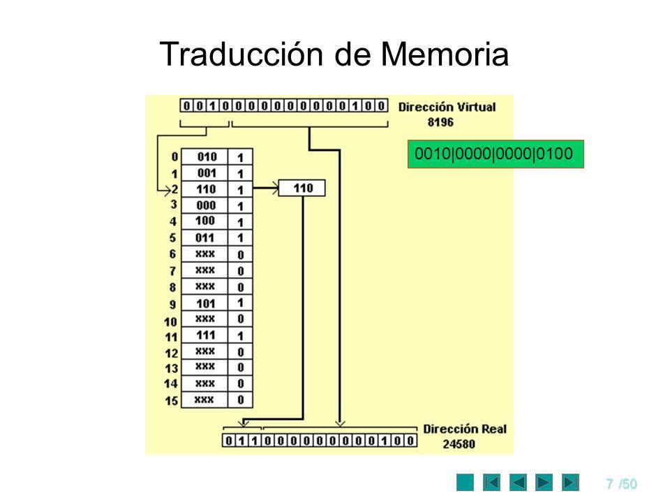 7/50 Traducción de Memoria 0010 0000 0000 0100