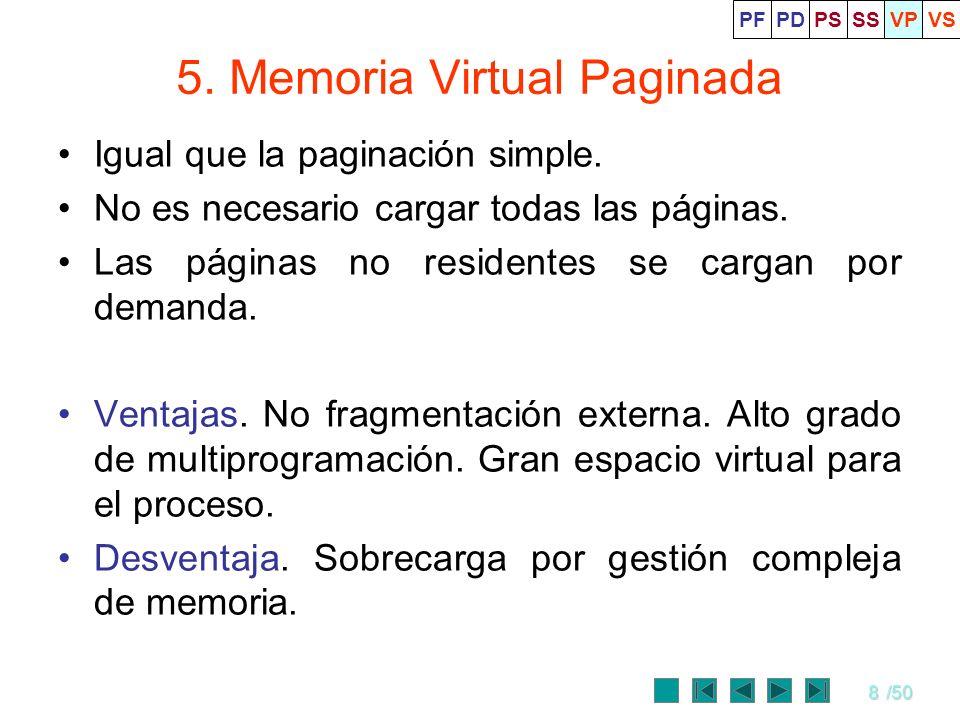 8/50 5. Memoria Virtual Paginada Igual que la paginación simple. No es necesario cargar todas las páginas. Las páginas no residentes se cargan por dem