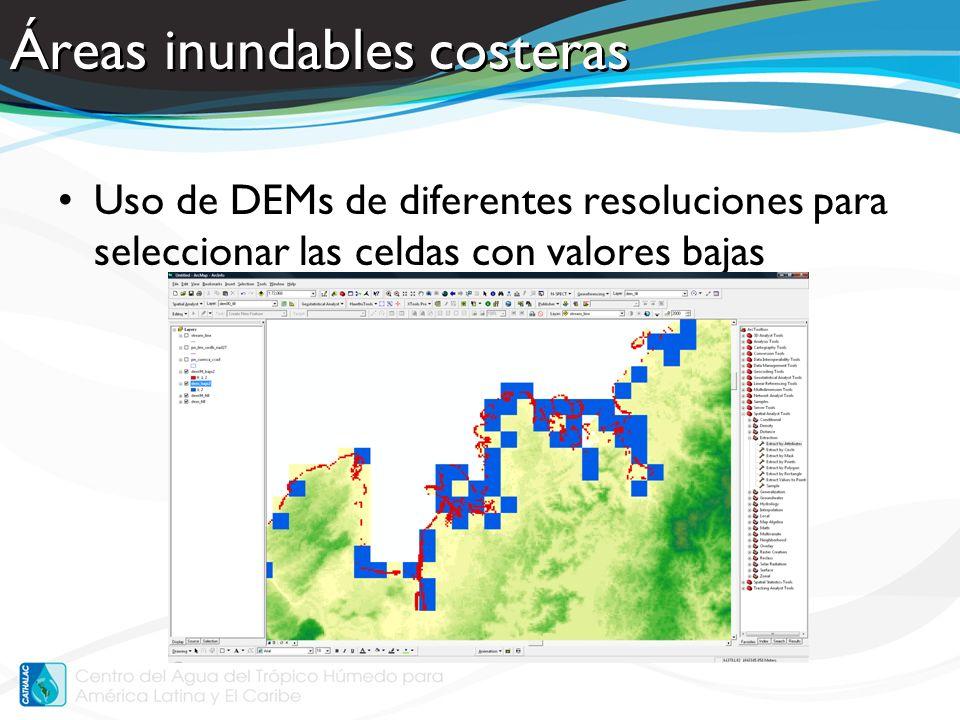 Áreas inundables interiores Uso de los ríos para definir áreas susceptibles a inundaciones interiores –Por zonas de amortiguamiento –Por píxeles de la misma elevación que los ríos –Incluir: inundaciones históricas