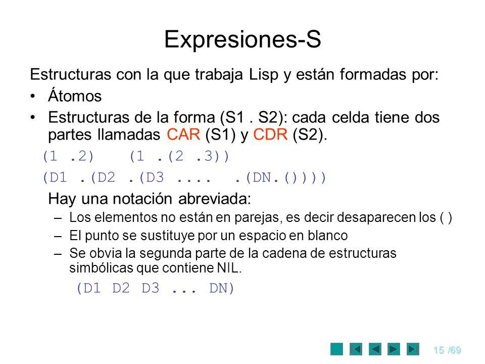 15/69 Expresiones-S Estructuras con la que trabaja Lisp y están formadas por: Átomos Estructuras de la forma (S1. S2): cada celda tiene dos partes lla