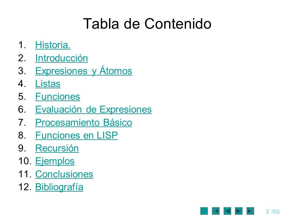 3/69 Objetivos Exponer los conceptos básicos del LISP.