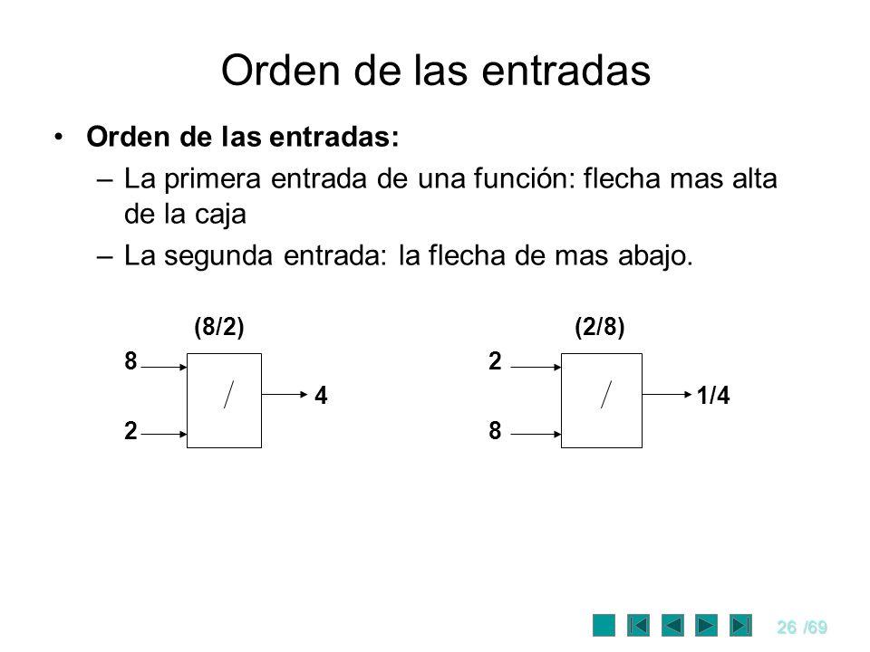 26/69 Orden de las entradas Orden de las entradas: –La primera entrada de una función: flecha mas alta de la caja –La segunda entrada: la flecha de ma