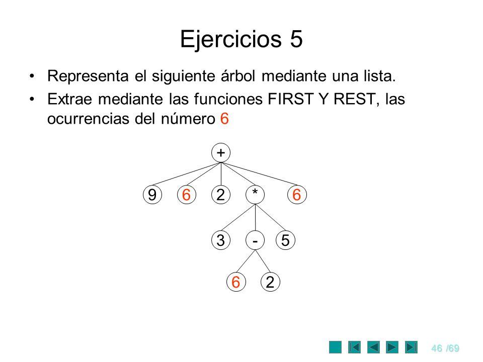 46/69 Ejercicios 5 Representa el siguiente árbol mediante una lista. Extrae mediante las funciones FIRST Y REST, las ocurrencias del número 6 + 962* -