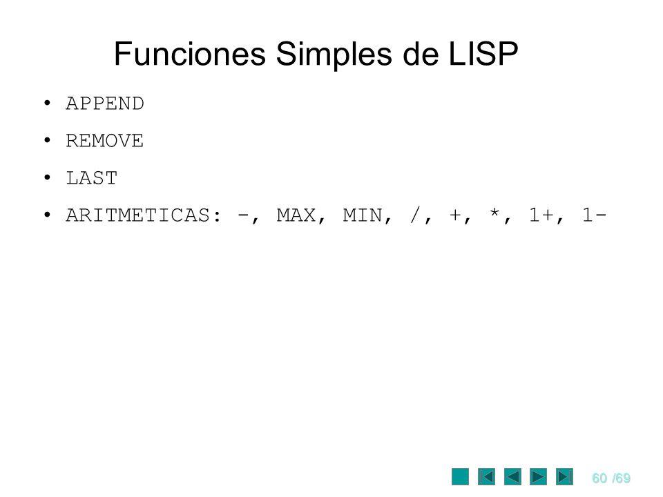 60/69 Funciones Simples de LISP APPEND REMOVE LAST ARITMETICAS: -, MAX, MIN, /, +, *, 1+, 1-