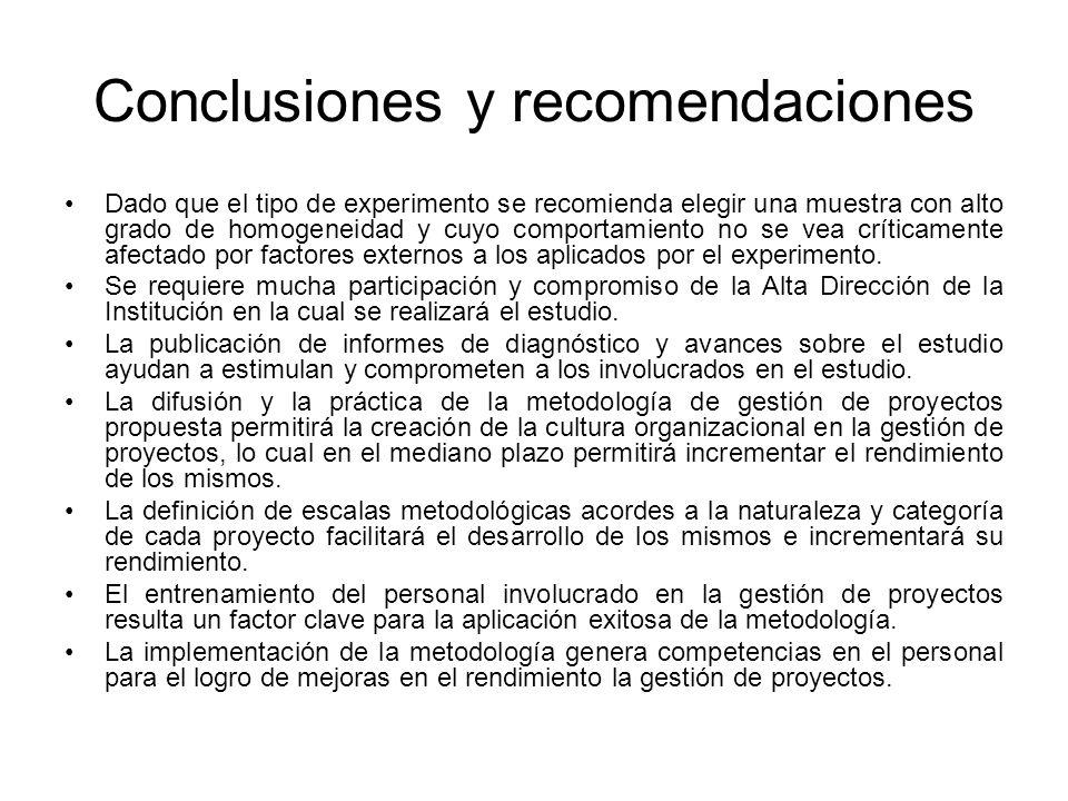 Conclusiones y recomendaciones Dado que el tipo de experimento se recomienda elegir una muestra con alto grado de homogeneidad y cuyo comportamiento no se vea críticamente afectado por factores externos a los aplicados por el experimento.