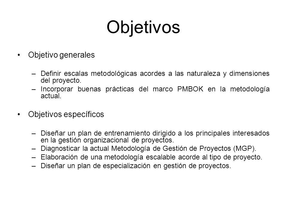Objetivos Objetivo generales –Definir escalas metodológicas acordes a las naturaleza y dimensiones del proyecto.