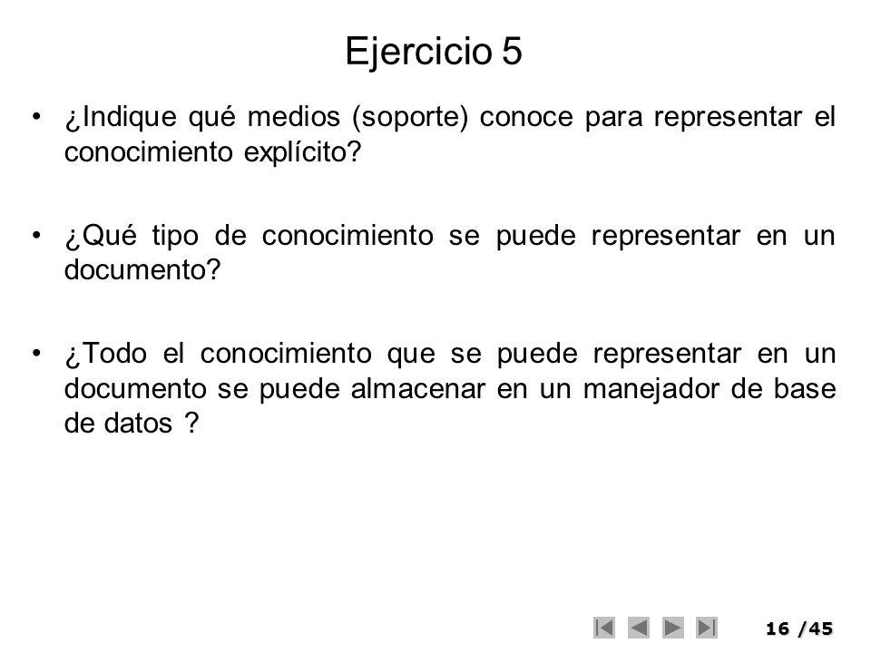 16/45 Ejercicio 5 ¿Indique qué medios (soporte) conoce para representar el conocimiento explícito? ¿Qué tipo de conocimiento se puede representar en u