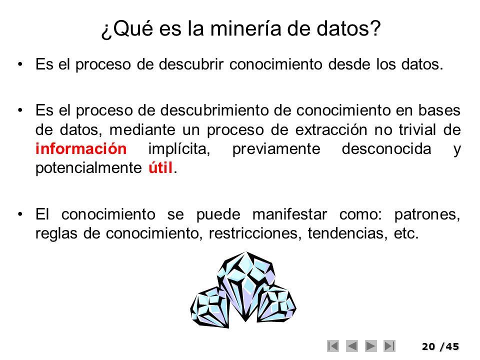 20/45 ¿Qué es la minería de datos? Es el proceso de descubrir conocimiento desde los datos. Es el proceso de descubrimiento de conocimiento en bases d