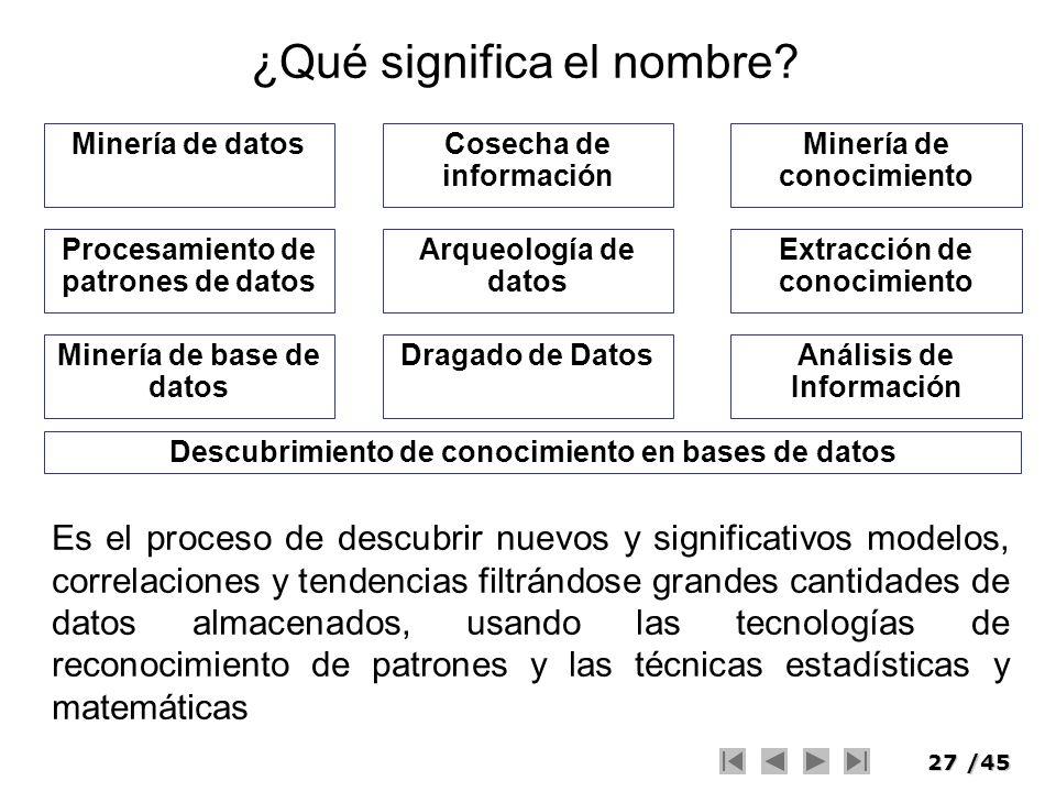 27/45 ¿Qué significa el nombre? Minería de datosMinería de conocimiento Descubrimiento de conocimiento en bases de datos Arqueología de datos Dragado