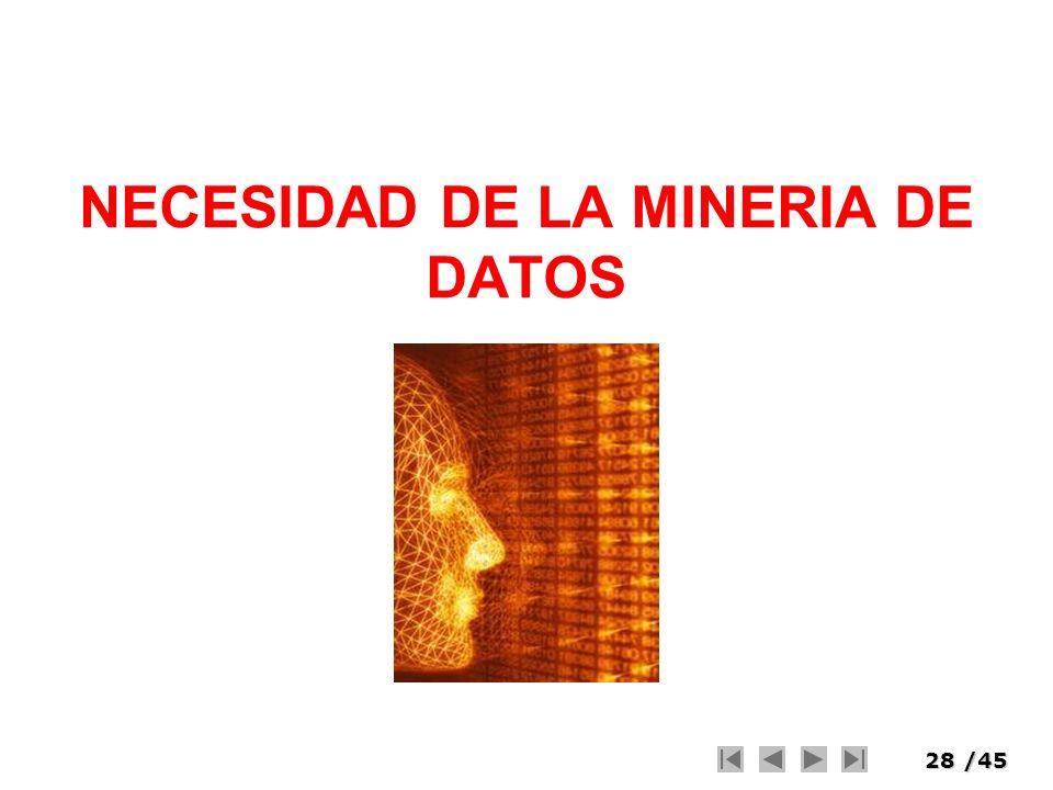 28/45 NECESIDAD DE LA MINERIA DE DATOS