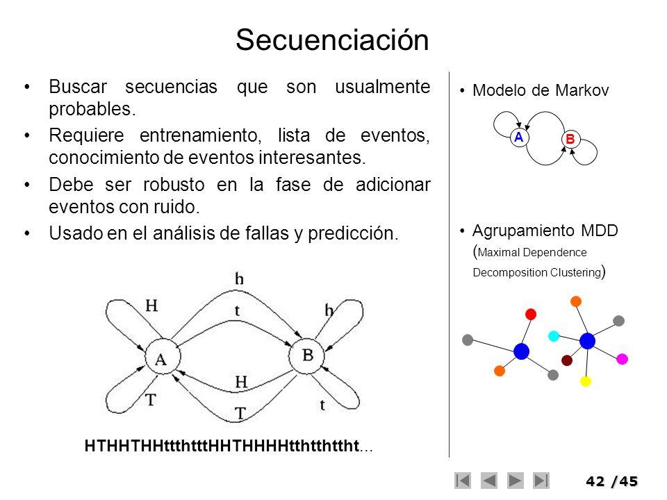 42/45 Secuenciación Buscar secuencias que son usualmente probables. Requiere entrenamiento, lista de eventos, conocimiento de eventos interesantes. De