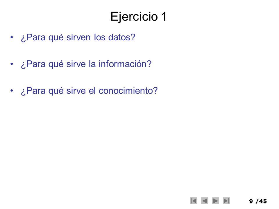 9/45 Ejercicio 1 ¿Para qué sirven los datos? ¿Para qué sirve la información? ¿Para qué sirve el conocimiento?