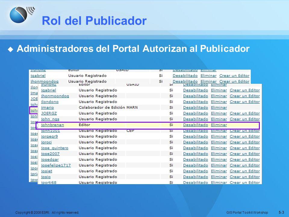 GIS Portal Toolkit Workshop Copyright © 2008 ESRI. All rights reserved. 5-3 Rol del Publicador Administradores del Portal Autorizan al Publicador