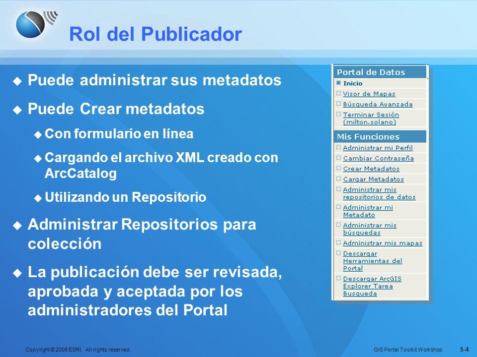 GIS Portal Toolkit Workshop Copyright © 2008 ESRI. All rights reserved. 5-4 Rol del Publicador Puede administrar sus metadatos Puede Crear metadatos C