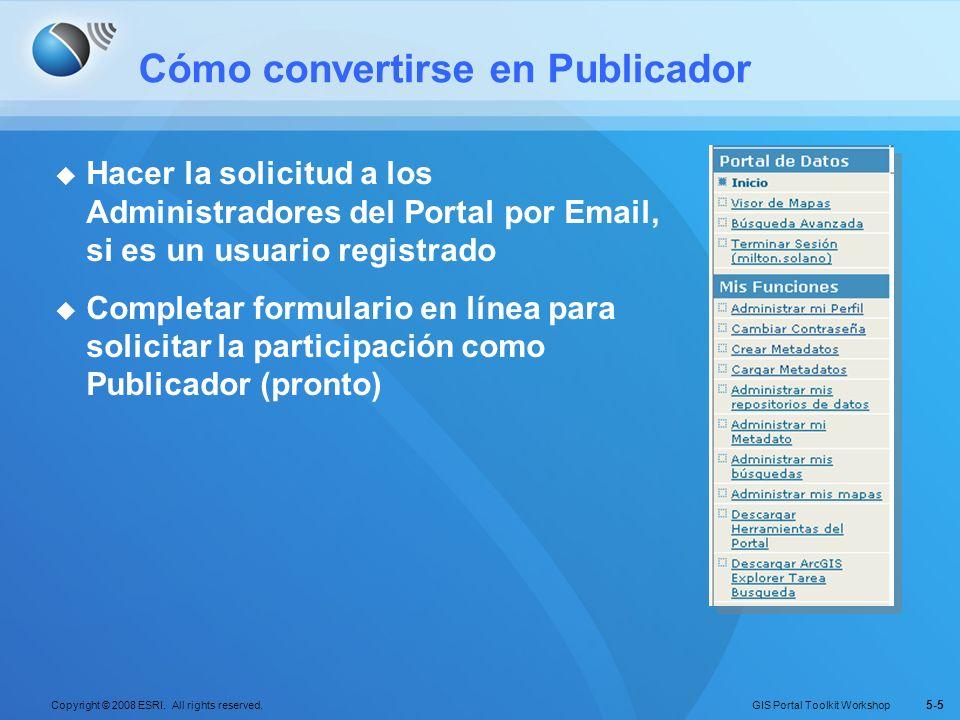 GIS Portal Toolkit Workshop Copyright © 2008 ESRI. All rights reserved. 5-5 Cómo convertirse en Publicador Hacer la solicitud a los Administradores de