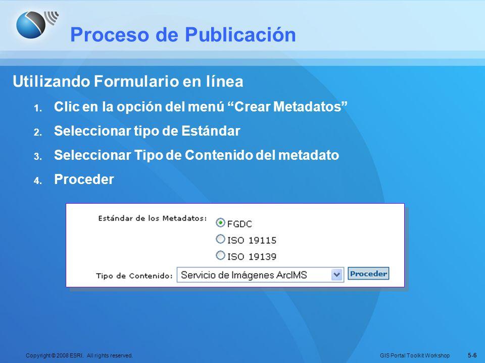 GIS Portal Toolkit Workshop Copyright © 2008 ESRI. All rights reserved. 5-6 Proceso de Publicación Utilizando Formulario en línea 1. Clic en la opción