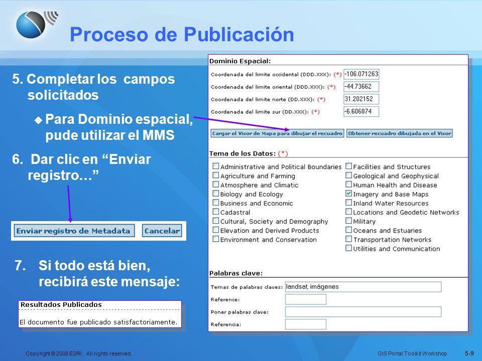 GIS Portal Toolkit Workshop Copyright © 2008 ESRI. All rights reserved. 5-9 Proceso de Publicación 5. Completar los campos solicitados Para Dominio es