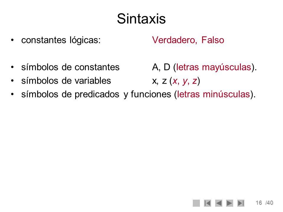 16/40 Sintaxis constantes lógicas: Verdadero, Falso símbolos de constantesA, D (letras mayúsculas). símbolos de variablesx, z (x, y, z) símbolos de pr