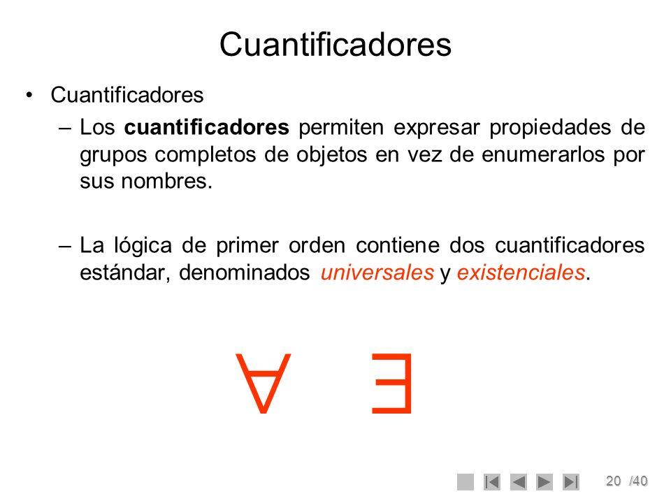 20/40 Cuantificadores –Los cuantificadores permiten expresar propiedades de grupos completos de objetos en vez de enumerarlos por sus nombres. –La lóg
