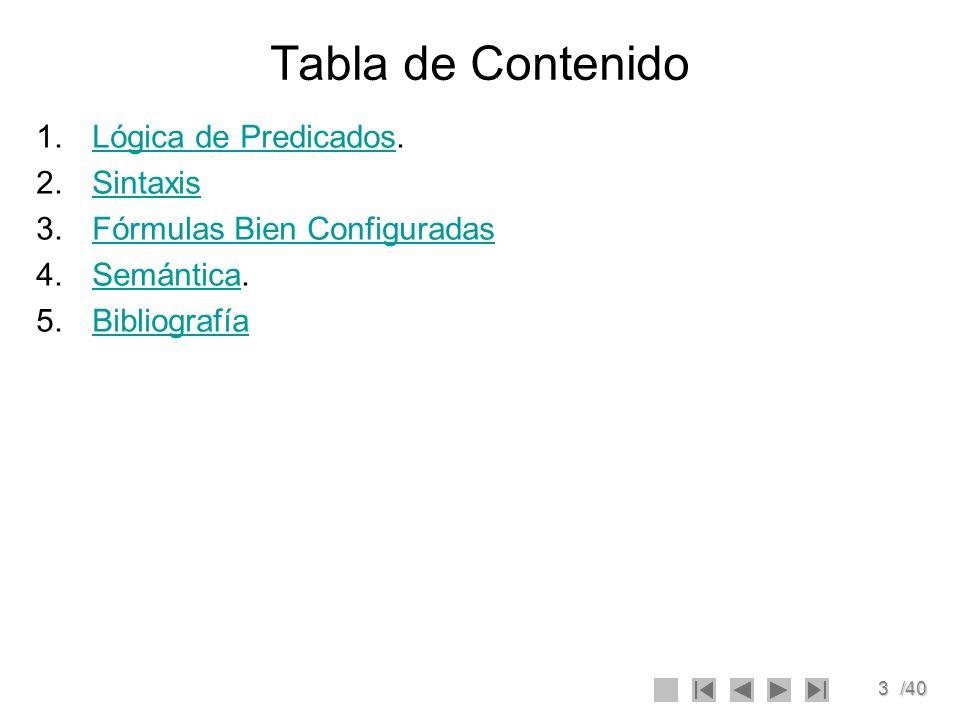 3/40 Tabla de Contenido 1.Lógica de Predicados.Lógica de Predicados 2.SintaxisSintaxis 3.Fórmulas Bien ConfiguradasFórmulas Bien Configuradas 4.Semánt