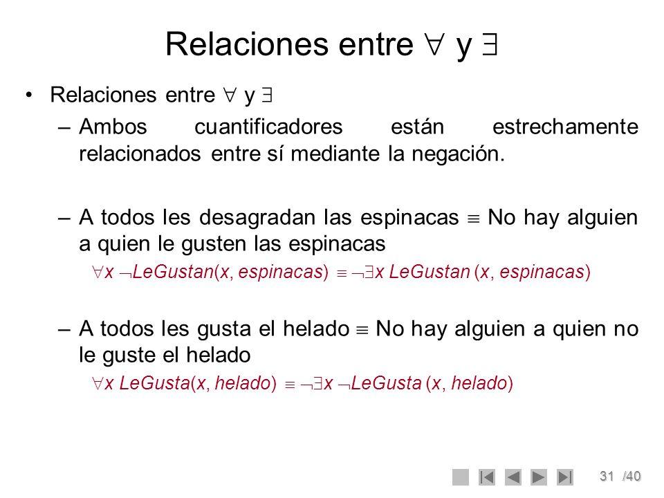 31/40 Relaciones entre y –Ambos cuantificadores están estrechamente relacionados entre sí mediante la negación. –A todos les desagradan las espinacas