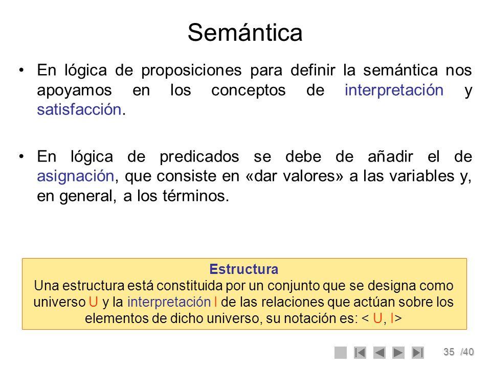 35/40 Semántica En lógica de proposiciones para definir la semántica nos apoyamos en los conceptos de interpretación y satisfacción. En lógica de pred