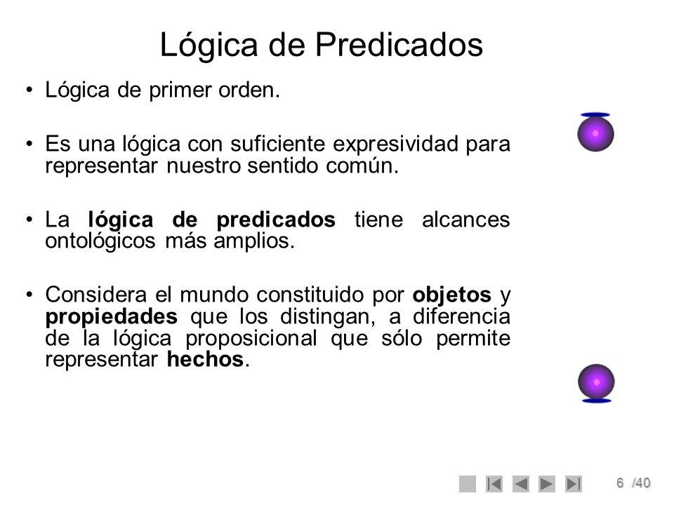 6/40 Lógica de Predicados Lógica de primer orden. Es una lógica con suficiente expresividad para representar nuestro sentido común. La lógica de predi