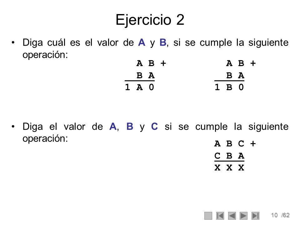 10/62 Ejercicio 2 Diga cuál es el valor de A y B, si se cumple la siguiente operación: Diga el valor de A, B y C si se cumple la siguiente operación: A B + B A 1 A 0 A B + B A 1 B 0 A B C + C B A X X X