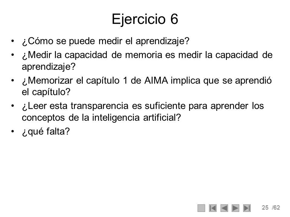 25/62 Ejercicio 6 ¿Cómo se puede medir el aprendizaje.
