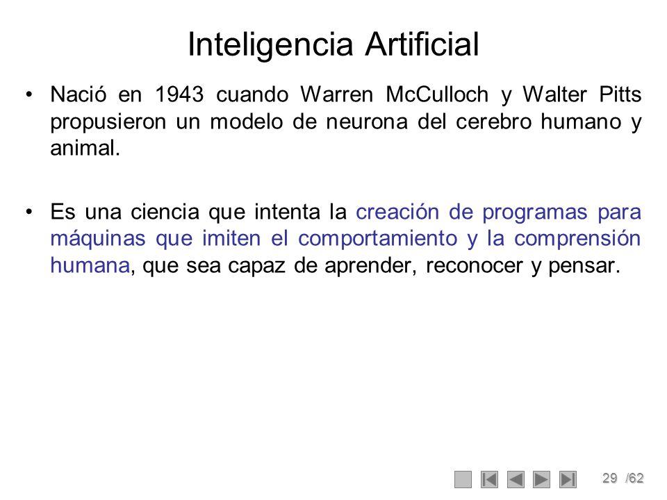 29/62 Inteligencia Artificial Nació en 1943 cuando Warren McCulloch y Walter Pitts propusieron un modelo de neurona del cerebro humano y animal. Es un