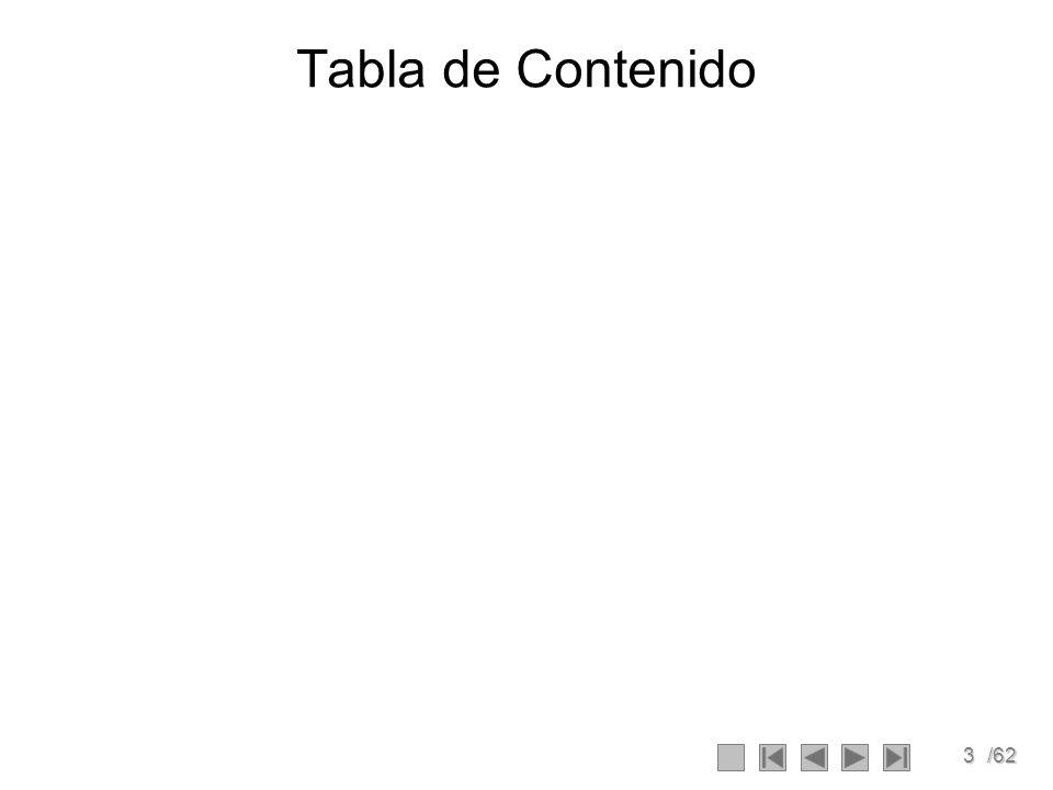 3/62 Tabla de Contenido