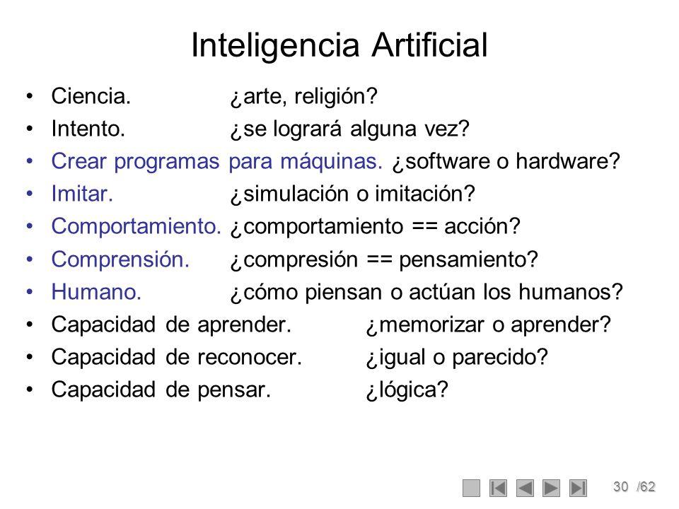 30/62 Inteligencia Artificial Ciencia.¿arte, religión? Intento.¿se logrará alguna vez? Crear programas para máquinas. ¿software o hardware? Imitar.¿si