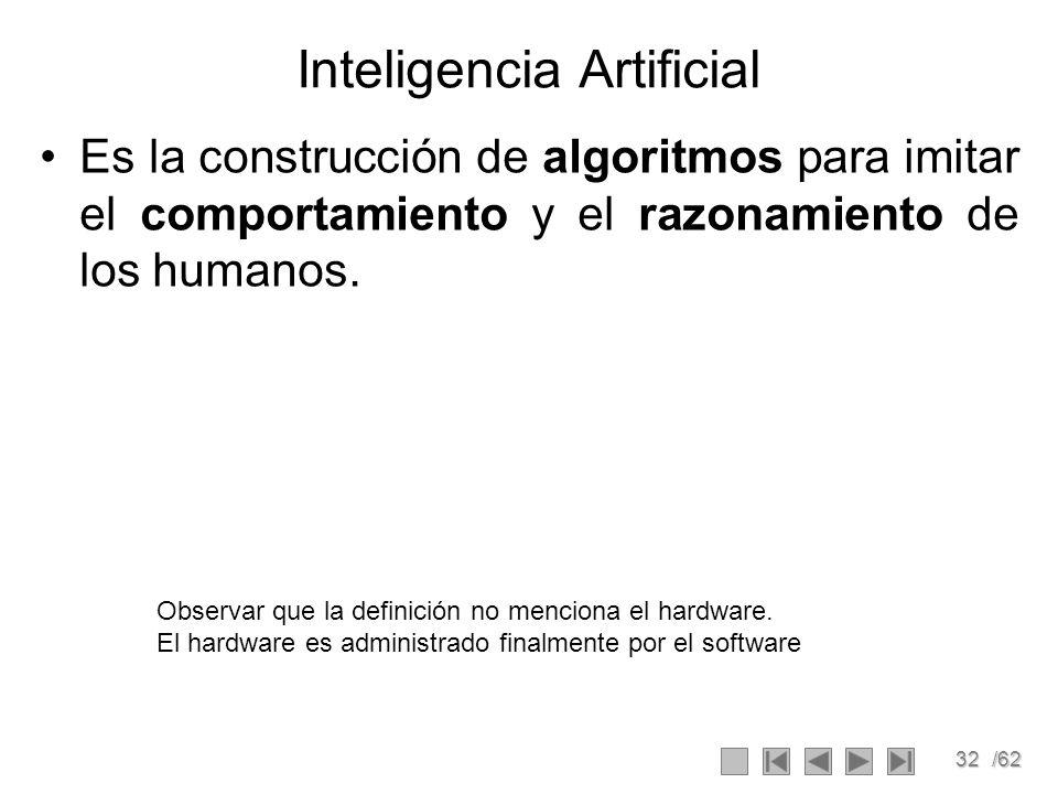 32/62 Inteligencia Artificial Es la construcción de algoritmos para imitar el comportamiento y el razonamiento de los humanos. Observar que la definic